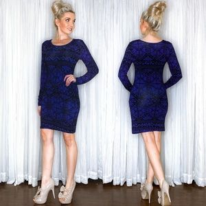 Long Sleeve T Shirt Blue Pattern Dress